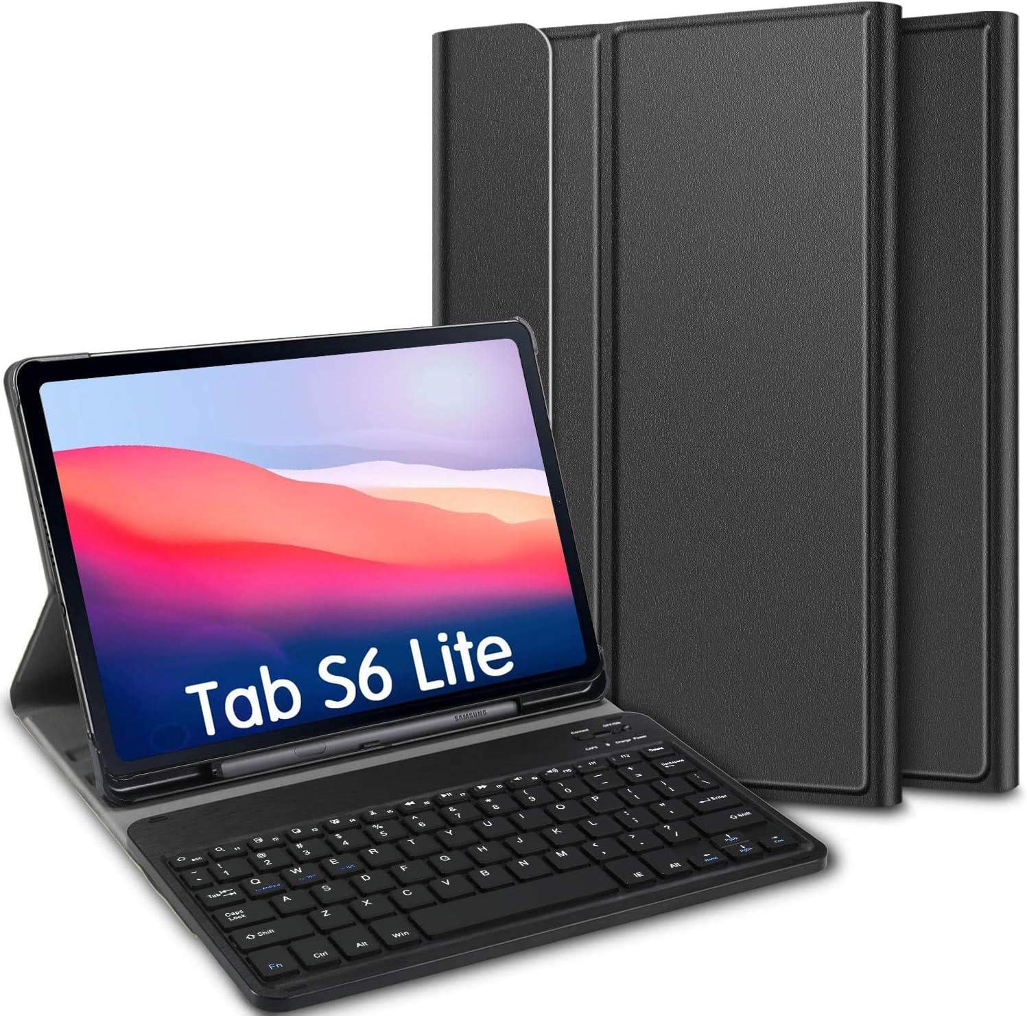ELTD Teclado Estuche para Samsung Galaxy Tab S6 Lite 10.4,[QWERTY diseño en inglés], Protectora Cover Funda con Desmontable Wireless Teclado para ...