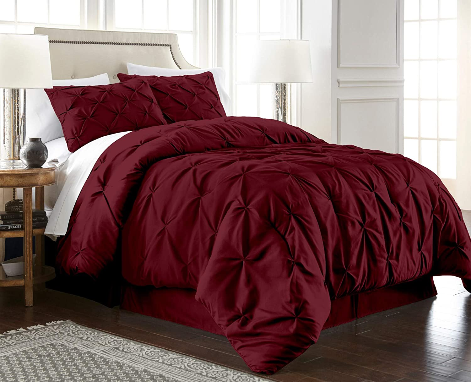 Chezmoi Collection Berlin 3-Piece Pintuck Pinch Pleat Bedding Comforter Set (Full, Burgundy)