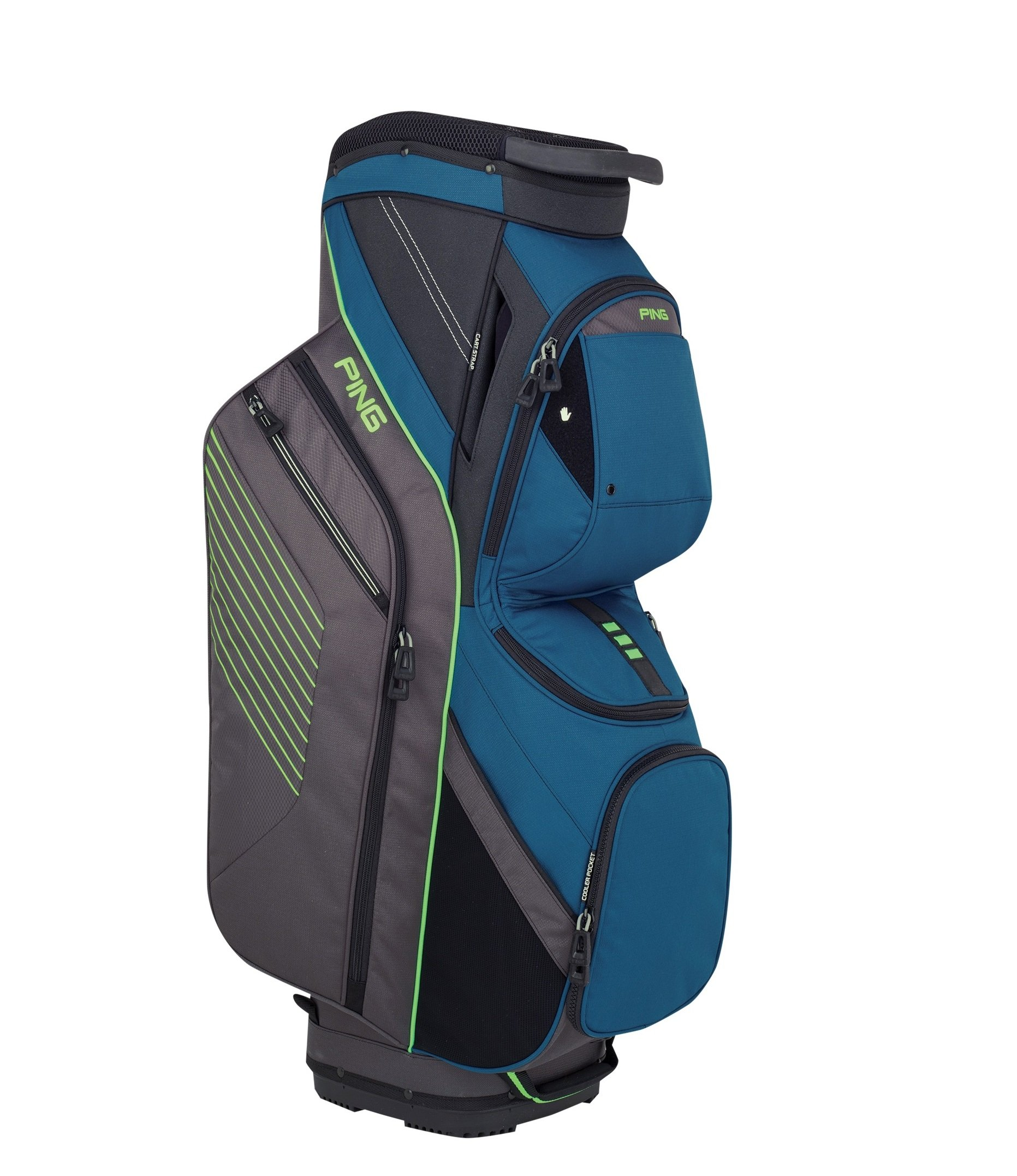 PING 2018 TRAVERSE 164 CART GOLF BAG 16 DARK TEAL/GRAPHITE/ELECTRICGREEN