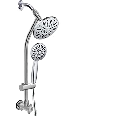AquaDance 3370 28  Drill-Free Stainless Steel Slide Bar Combo Rain Showerhead 6-Setting Hand Revolutionary Low 3-Way Diverter for Easy Reach, Dual Shower Head Spa System-Chrome Finish