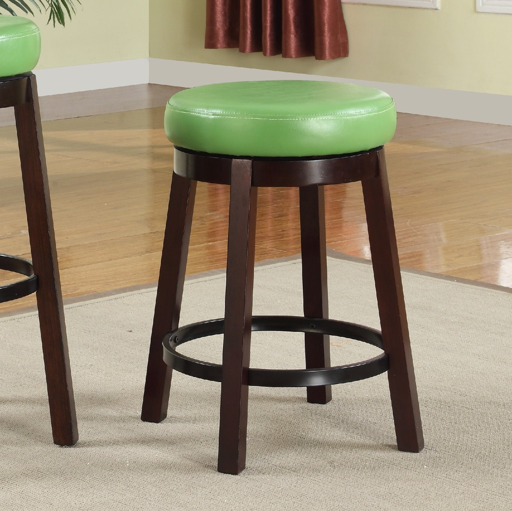 Roundhill Furniture Wooden Swivel Barstools, Counter Height, Lime Green, Set of 2