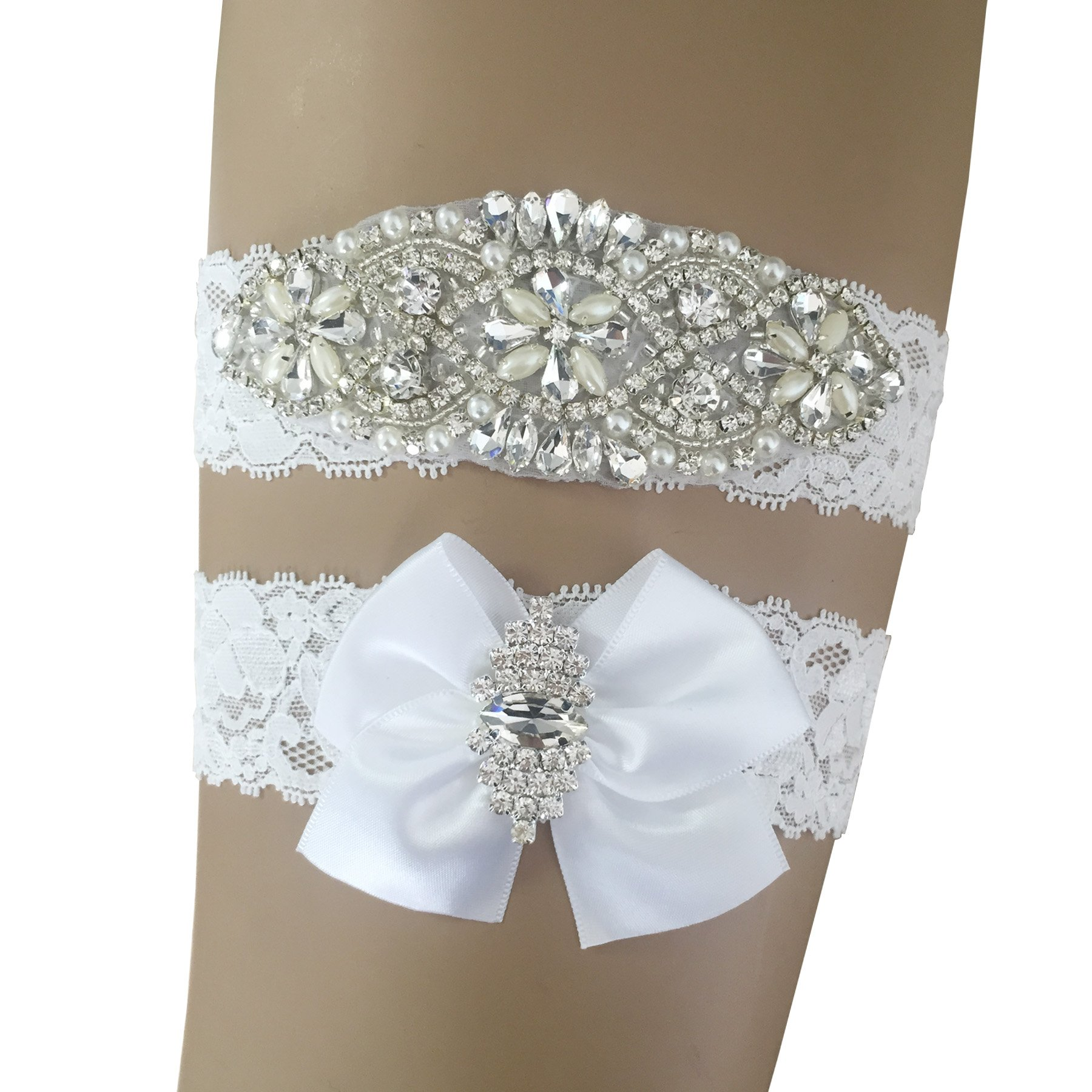 Kirmoo Vintage Bridal Garter Set Lace Wedding Garters For Bride White with Bow Rhinestones (M(14''~18''))