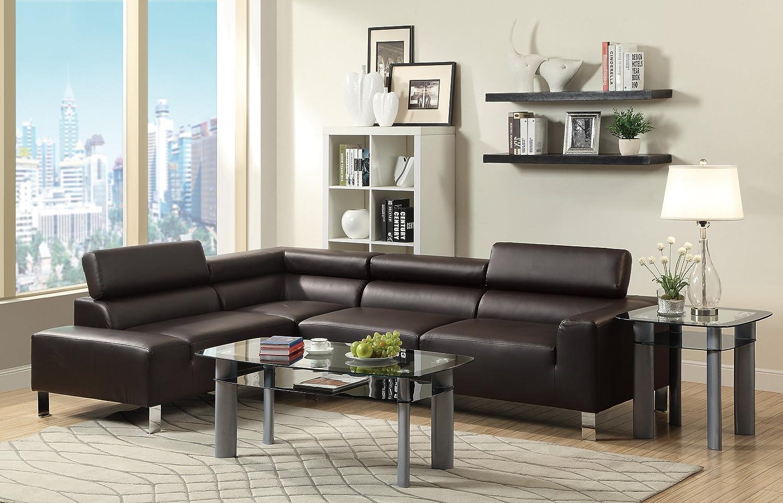 Amazoncom Poundex Bokona Miter Bonded Leather Piece Sectional - Espresso living room furniture
