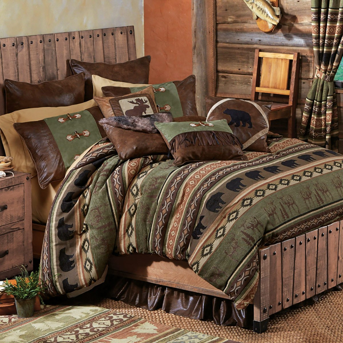 Timber Woods Moose & Bear Bed Set - Queen - Wilderness Bedding by Black Forest Decor (Image #1)