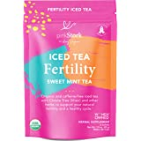 Pink Stork Iced Women's Fertility Tea: Sweet Mint, Raspberry Leaf Tea, 100% Organic, Fertility Tea for Women to Help Support Prenatal Vitamins + Hormones + Cycle, Women-Owned, 6 Sachets