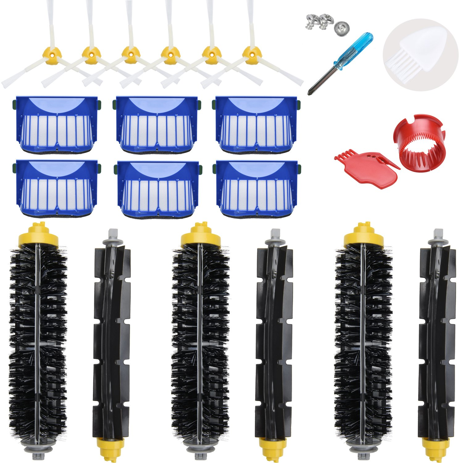 LOVECO Replacement Accessories Kit for iRobot Roomba 600 Series 690 680 660 651 650(Not for 645 655)& 500 Series 595 585 564 552,6 Filter,6 Side Brush,3 Pairs Bristle and Flexible Beater Brush by LOVECO
