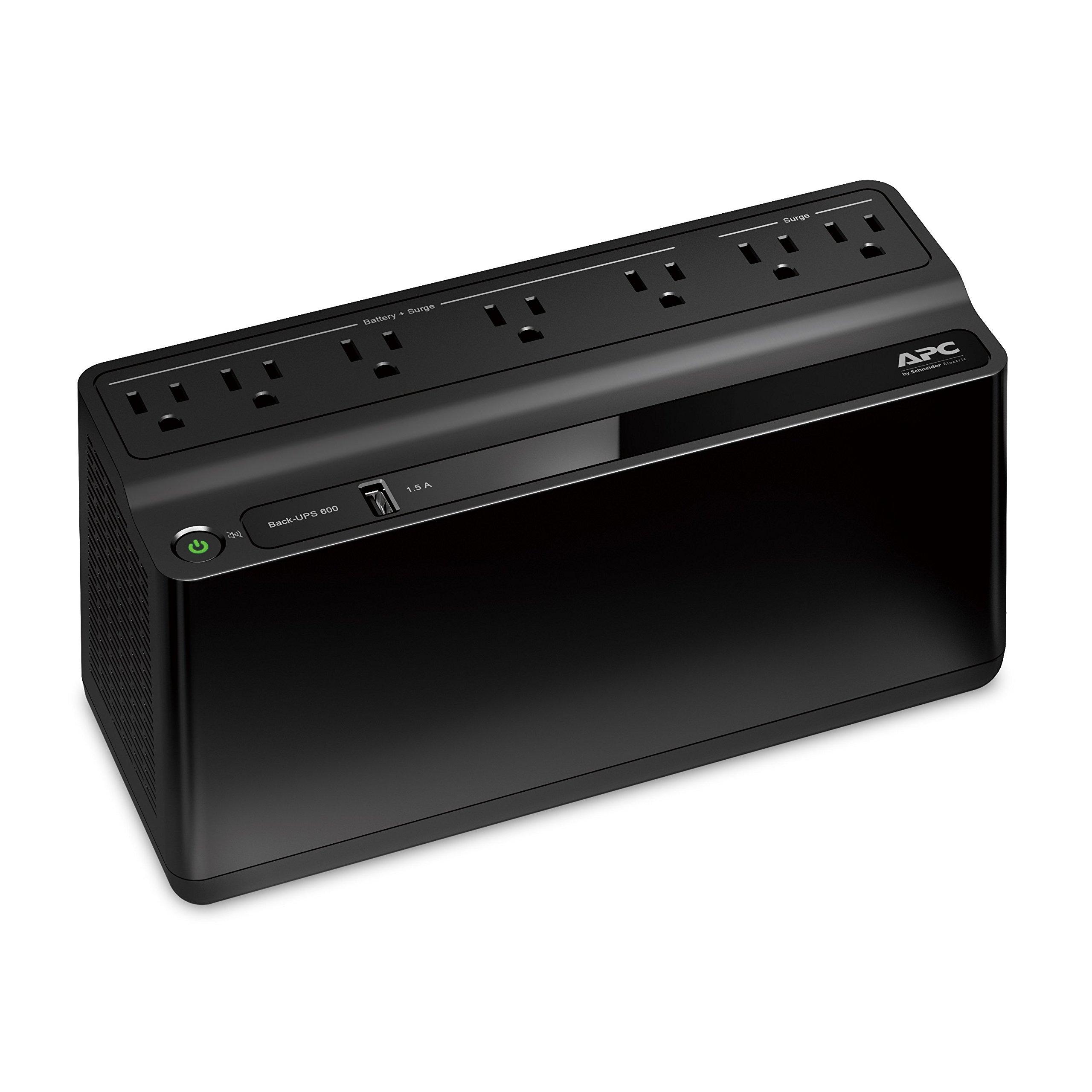 APC UPS Battery Backup & Surge Protector with USB Charger, 600VA, APC Back-UPS (BE600M1) by APC