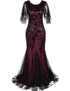 PrettyGuide Women s Evening Dress 1920s Sequin Mermaid Hem Maxi Long Formal  Ball Gown 03e725231