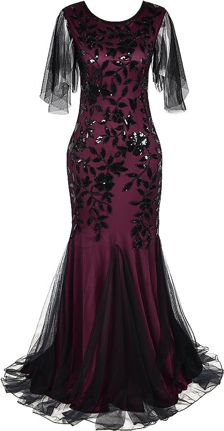 Kayamiya Women's 1920s Maxi Long Prom Gown