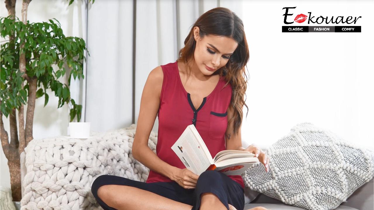 Ekouaer Women's Capri Pajama Set Lace Short Sleeve Sleepwear Pjs Sets with Pocket