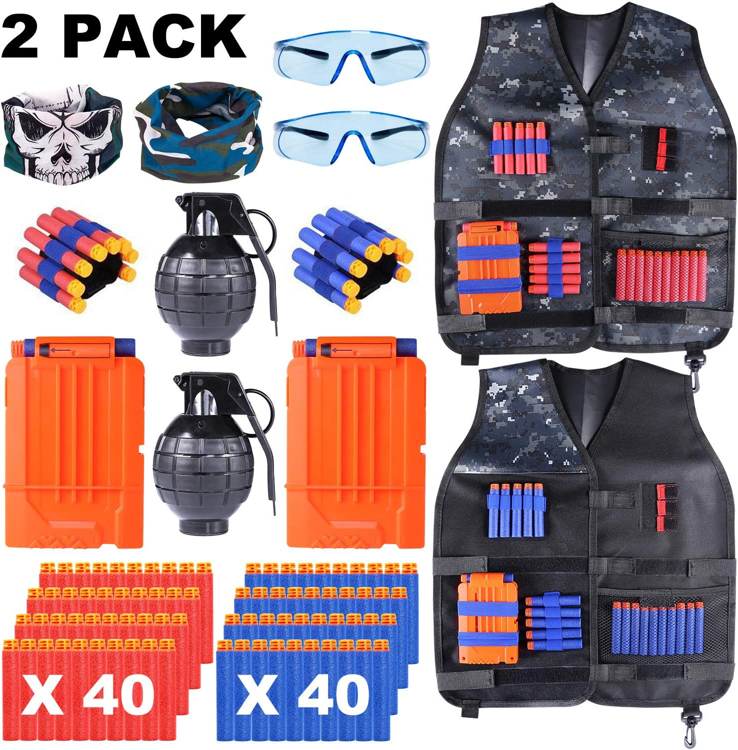 TEPSMIGO 2 Pack Kids Tactical Vest Kit with Refill Darts, Reload Clips, Tactical Mask, Wrist Band, Protective Glasses and Grenade Toy for Boys and Girls
