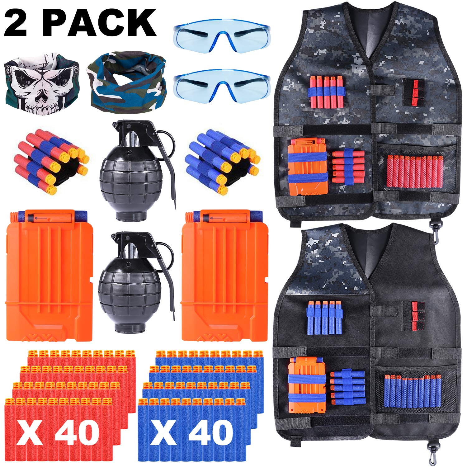TEPSMIGO 2 Pack Kids Tactical Vest Jacket Kit for Nerf Guns, Nerf Fortnite, N-Strike Elite Series with 80 Bullets Refill Darts and Other Accessories for Nerf for Boys and Girls