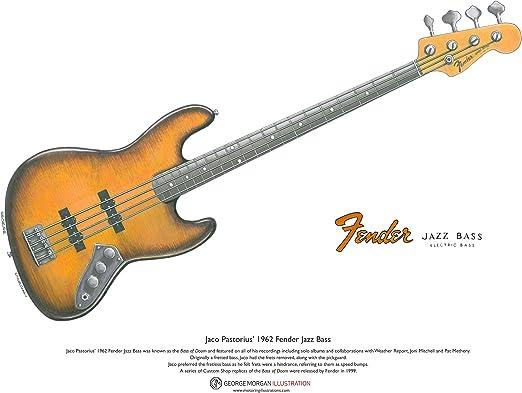 George Morgan Illustration Art Cartel de 1962 Fender Jazz Bajo de Doom Guitarra de Jaco Pastorius, tamaño A3: Amazon.es: Hogar