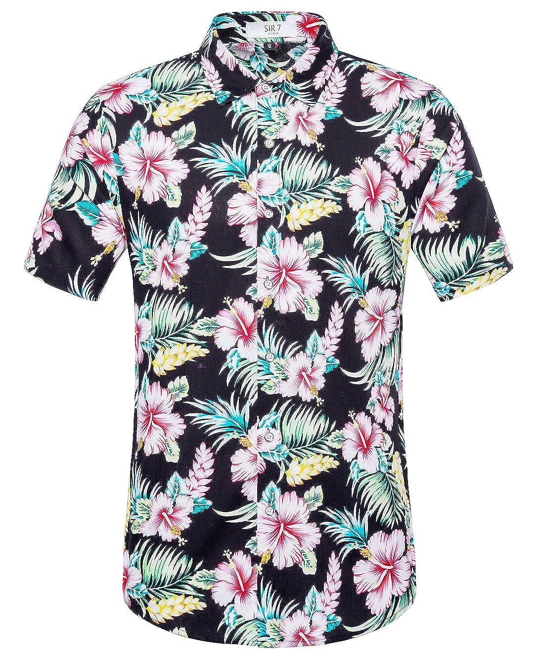 SIR7 Men's Hawaiian Flower Print Casual Button Down Short Sleeve Shirt HCS-C51-1
