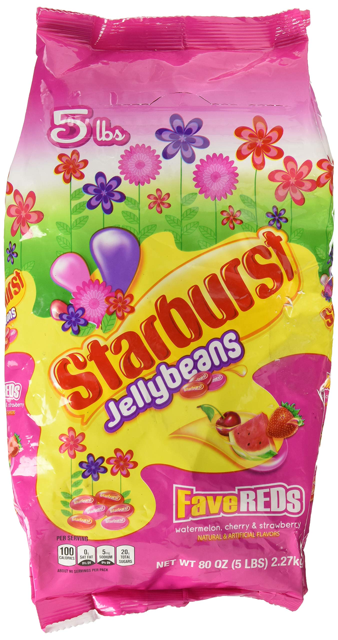 Starburst Jelly Beans FaveREDs Flavors, 80 oz, 5 lb