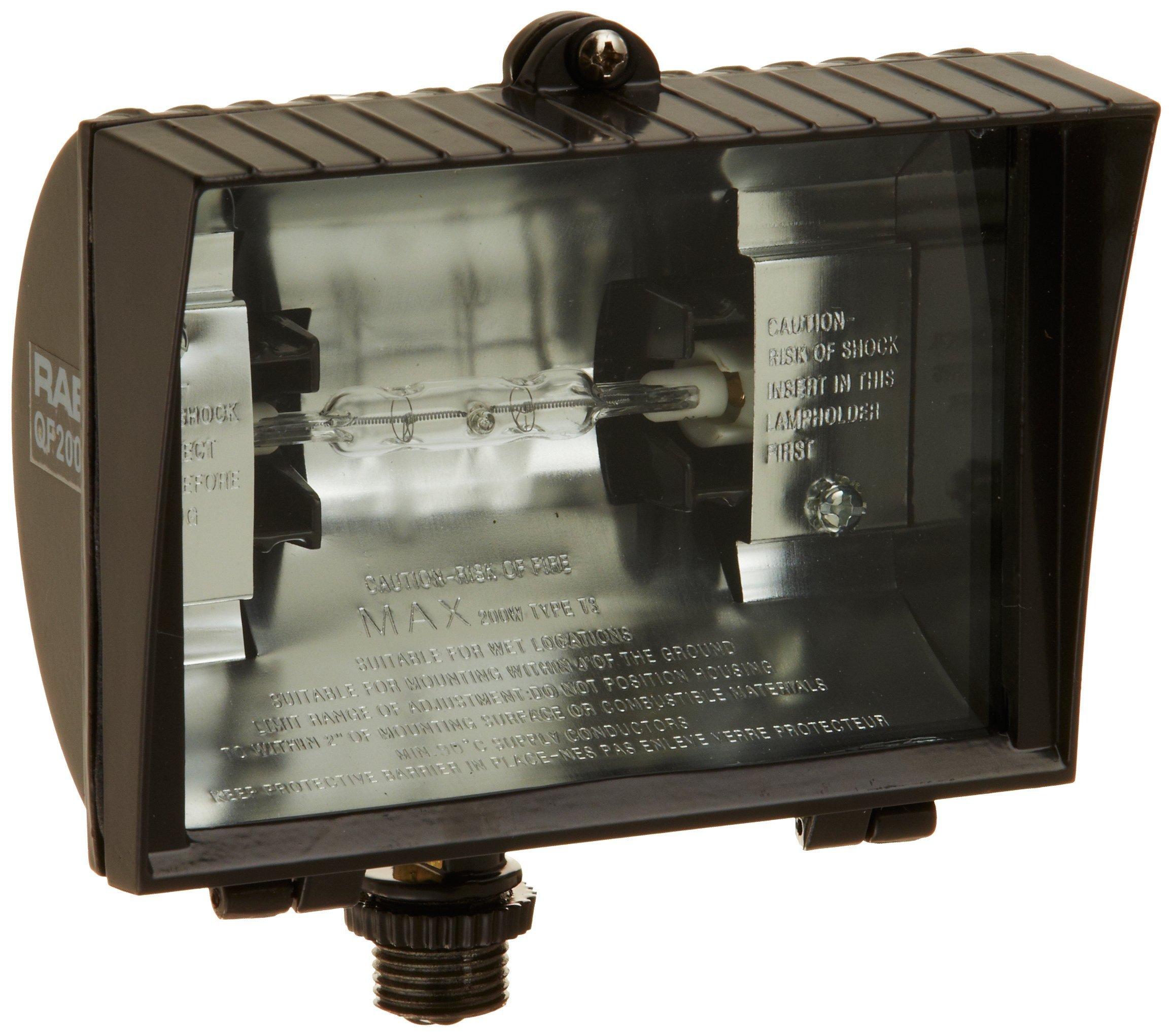 RAB Lighting QF200F Quartz Curve Floodlight, Aluminum, 200W Power, 3600 Lumens, 120V, Bronze
