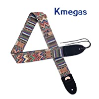 KMEGAS Soft Cotton Suede Ends Jacquard Weave Hootenanny Style Strap with Picks Holder for All Electric, Acoustic, Classical and Bass Guitars, Picks and Capo Included