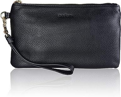Smartphone Wristlet Purse Fit iPhone 8 Plus befen Womens Genuine Leather Clutch Wallet Navy Blue