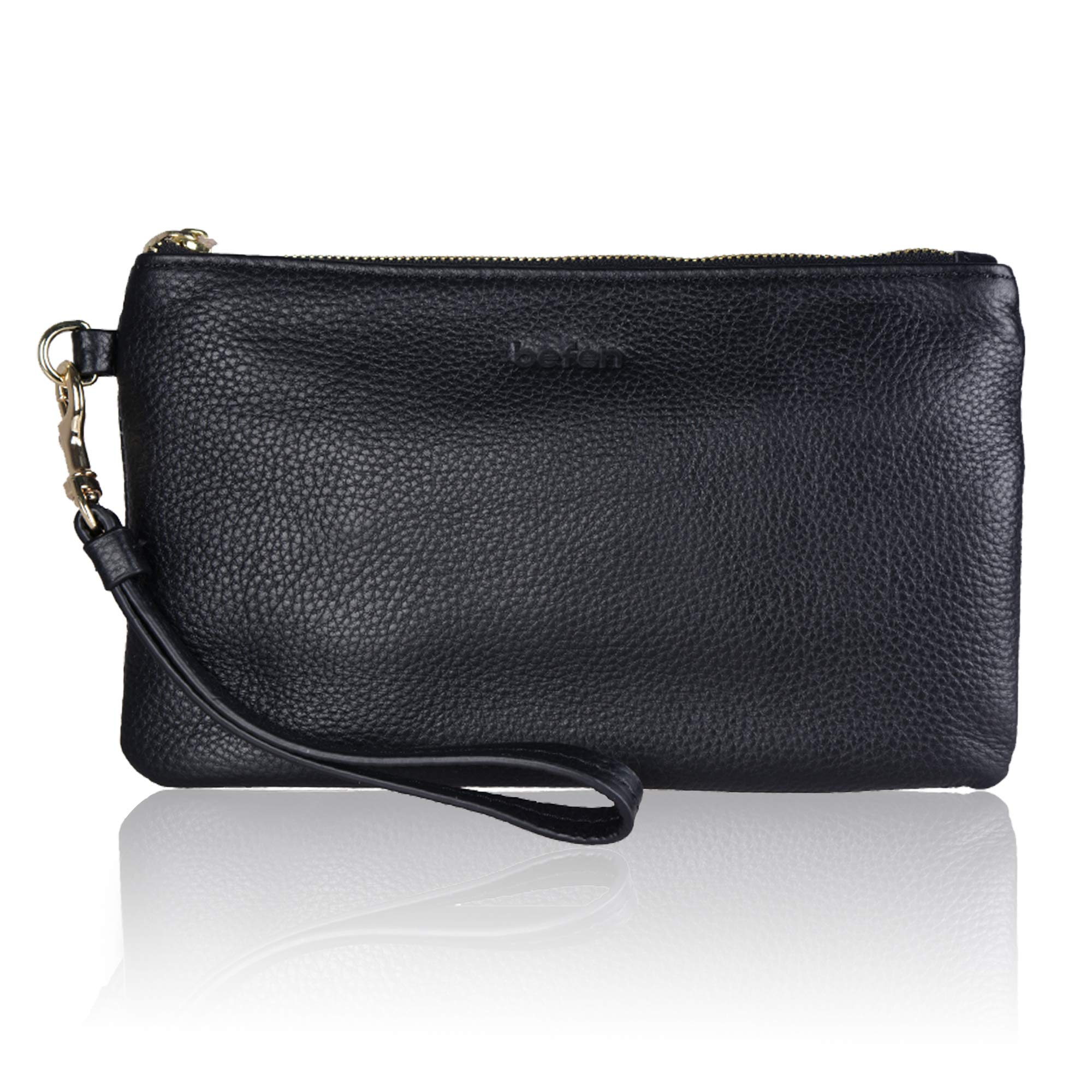 Befen Women Genuine Leather Clutch Wallet, Smartphone Wristlet Purse - Black by befen