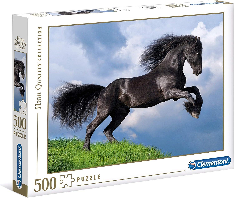 Clementoni- Puzzle 500 Piezas Caballo Negro (35071.1)
