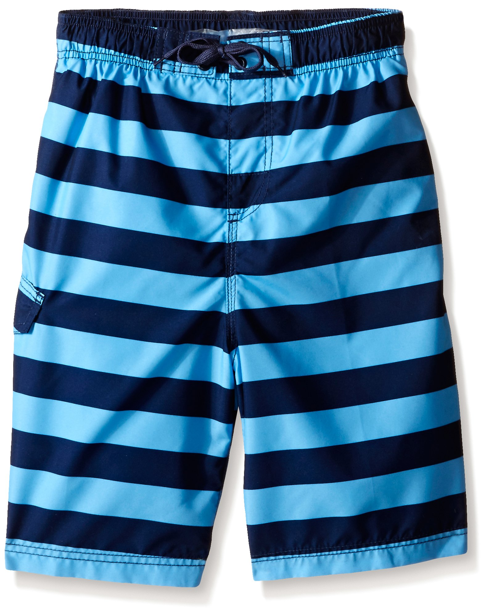 Kanu Surf Little Boys' Toddler Troy Stripe Swim Trunk, Navy/Blue, 3T