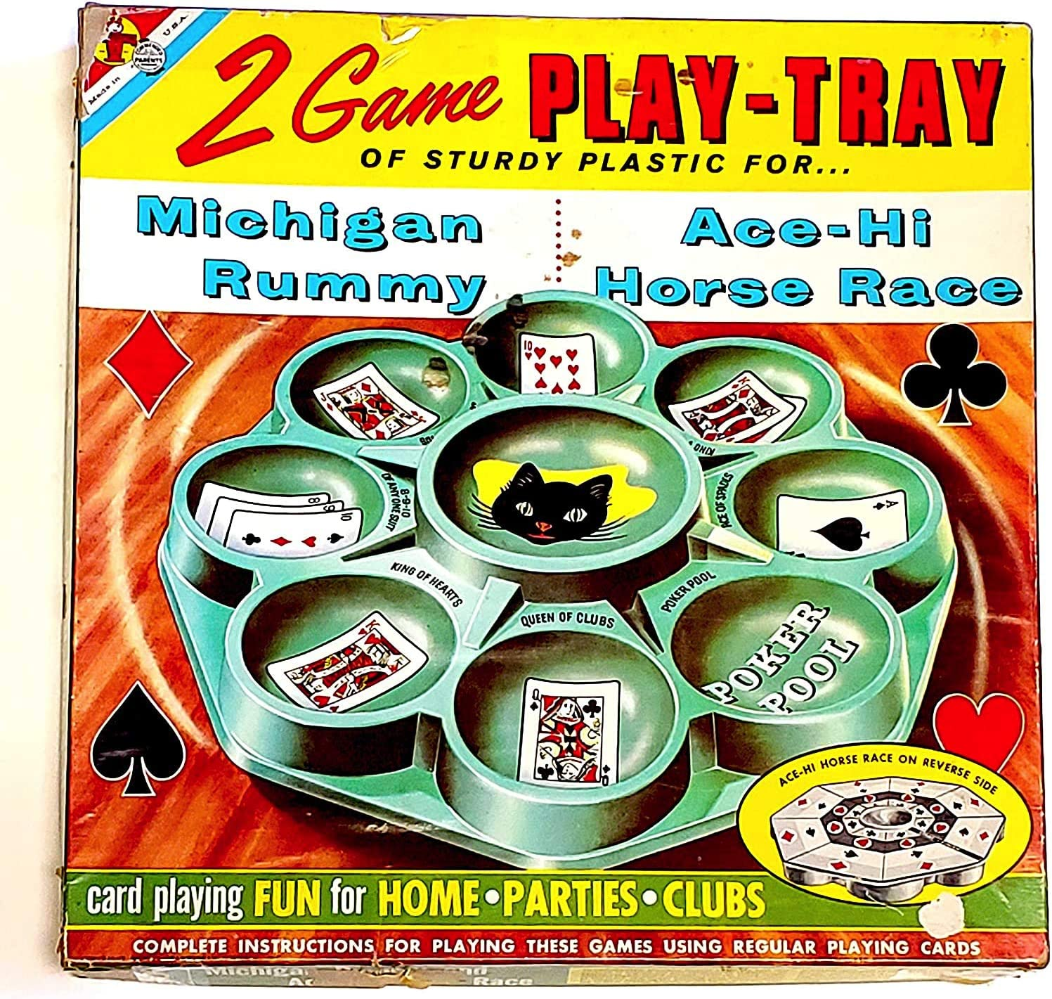 Vintage Reversible Two-Game Play Tray for Michigan Rummy and Ace-Hi Horse Race