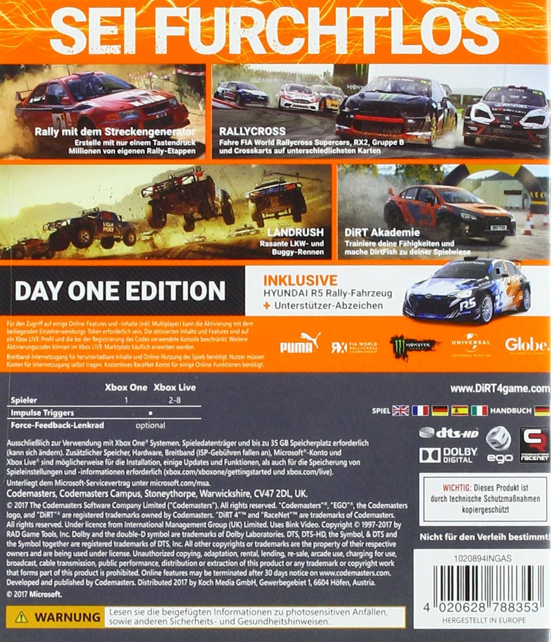 DiRT 4 Day One Edition - Xbox One [Importación alemana]: Amazon.es: Videojuegos