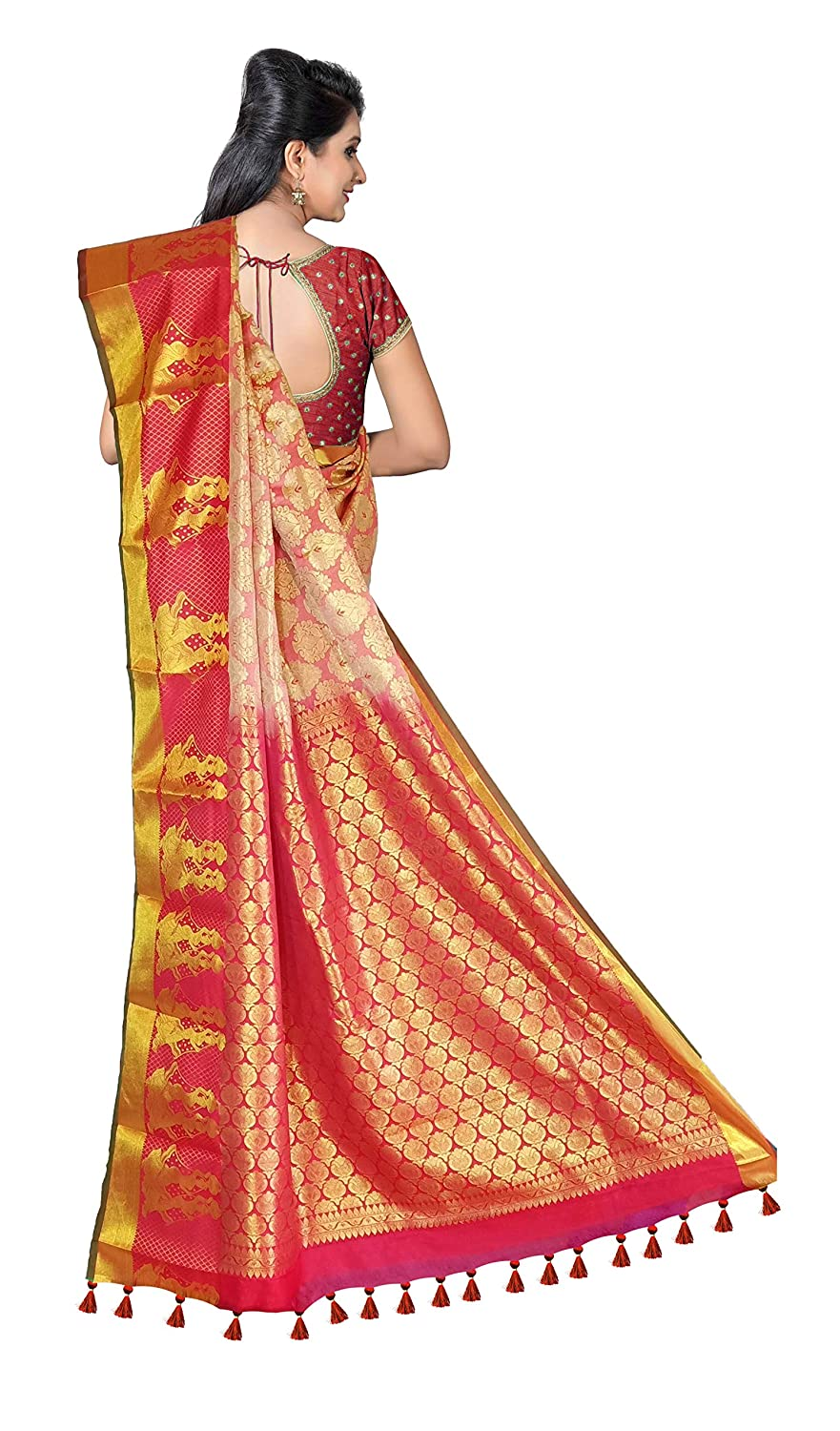 ca22b53802735f Amazon.com: VFCollections - Kanchipuram Pattu Silk Saree - Rose Flowers  Buta All Over with Blouse Piece for Women (Red): Clothing