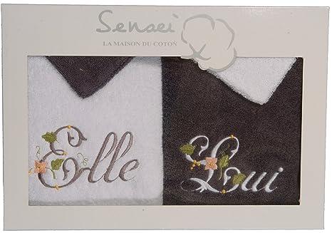 Sensei Maison du Coton 98106.071 - Juego de 2 toallas bordadas y 2 manoplas para baño