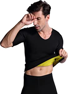 Ausom Mens Thermal Slimmer All- Matching Black Corset Shirt for Sweat More Fat Burning and Weight Loss with Short Sleeves