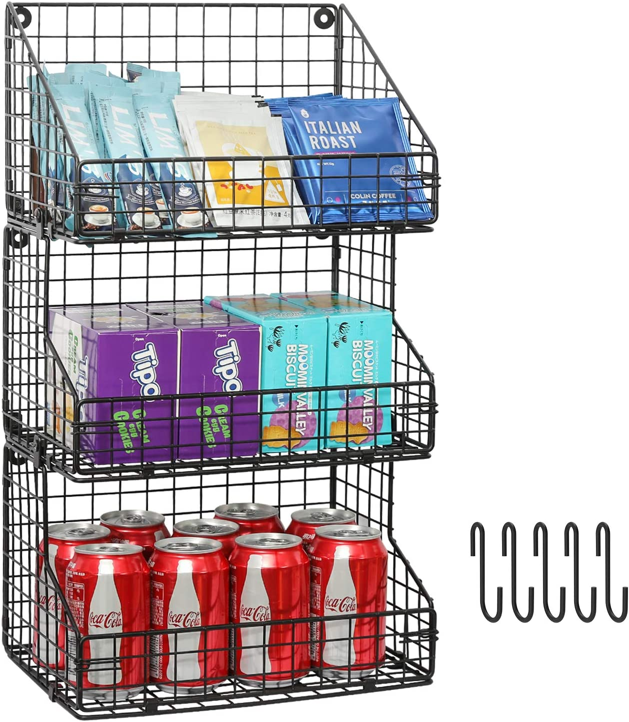 X-cosrack 3 Tier Stackable Tea Bag Organizer Large Size with 5 Hooks Metal Wire Basket Coffee Snack Rack Holder Countertop Caddy Bin Wall Mount Shelf for Office Kitchen Cabinet Pantry Patent Pending