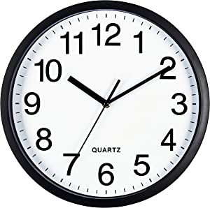 Bernhard Products Black Wall Clock Silent Non Ticking 10 Inch Quality Quartz Battery Operated Round Easy to Read Home/Office/Classroom/School Clock