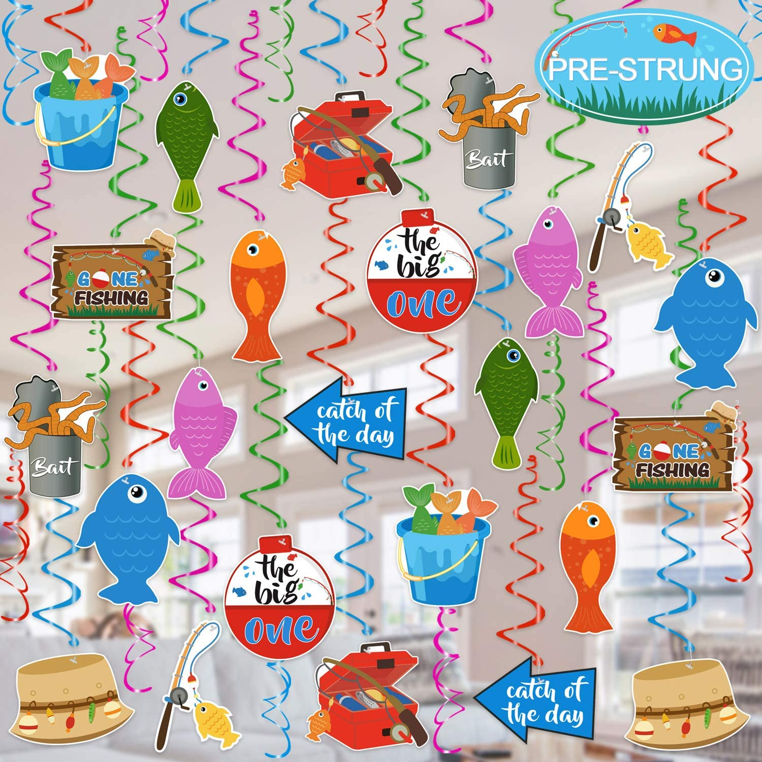Tifeson Gone Fishing Party Swirls - 36Pcs Fishing 1st Birthday Party Deocrations Swirls - Little Fisherman Birthday, O-fish-ally One Party, The Big One Fishing Party Decor