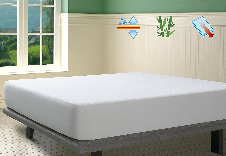 SAVEL, Protector de colchón Rizo 100% Bambú Impermeable y ...