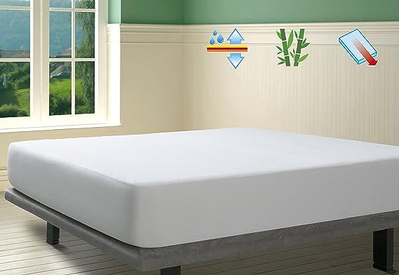 SAVEL, Protector de colchón Rizo 100% Bambú Impermeable y Transpirable, 80x190/200cm (para Camas de 80): Amazon.es: Hogar