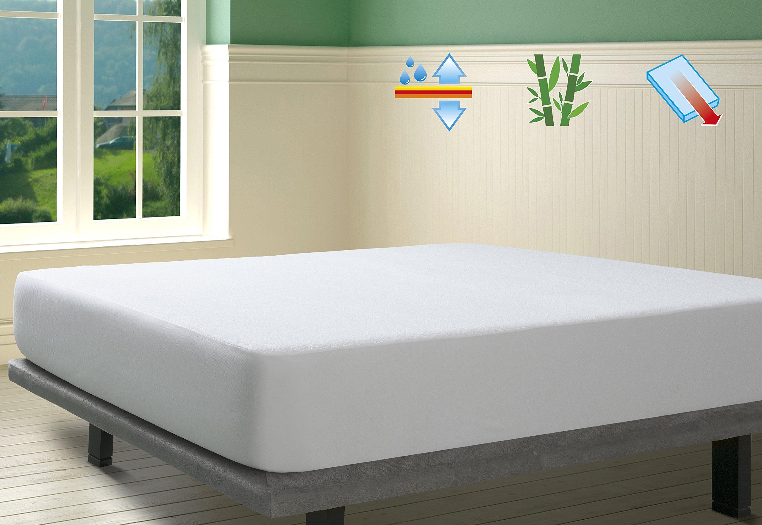 SAVEL, Protector de colchón Rizo 100% Bambú Impermeable y Transpirable, 180x190/200cm