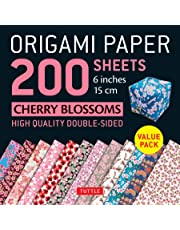 """Origami Paper Cherry Blossom Patterns: 200 Sheets 6"""" (15 CM)"""