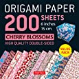 "Origami Paper Cherry Blossom Patterns: 200 Sheets 6"" (15 CM)"