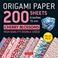 """Origami Paper 200 Sheets Cherry Blossoms 6"""" (15 CM): Tuttle Origami Paper: High-Quality Double Sided Origami Sheets Printed w"""