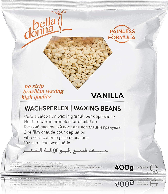 Bella Donna - Perlas de cera depilatoria caliente, vainilla, 400 g