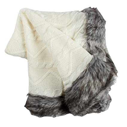 Amazon Nantucket Home Cable Knit Throw Blanket With Faux Fur Enchanting White Cable Knit Throw Blanket