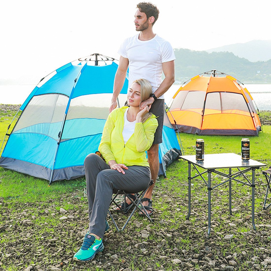 Double Hexagonal Beach Automatic Tent Outdoor 3-4 People Pop up Tent//4-6 People Pop up Tent Beach Tent large space Camping Tent Sun protection