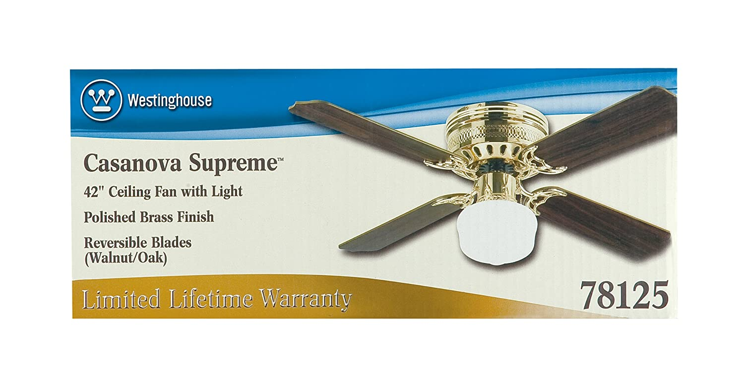 Westinghouse 7812500 Casanova Supreme Single Light 42 Inch Four Blade Indoor Ceiling Fan Polished Brass With Opal Schoolhouse Glass Com