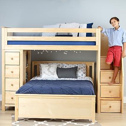 Amazon Com Plank Beam Staircase Combo Loft Bed Dresser Over