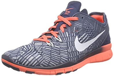 sale retailer bb3a4 f0663 Image Unavailable. Image not available for. Color  NIKE Women s Free 5.0 TR  Fit Training Shoe (Print) Squadron Blue Bright Mango