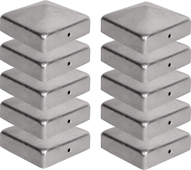121x121 mm Abdeckkappe f/ür Holzpfosten VIIRKUJA 10 x Pfostenkappe f/ür Zaunpfosten Pyramiden Form | Verzinktem Stahl