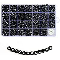 Amaney 1400pcs 4x7mm Black Round Acrylic Alphabet Letter Beads A-Z and Heart Pattern for Jewelry Making