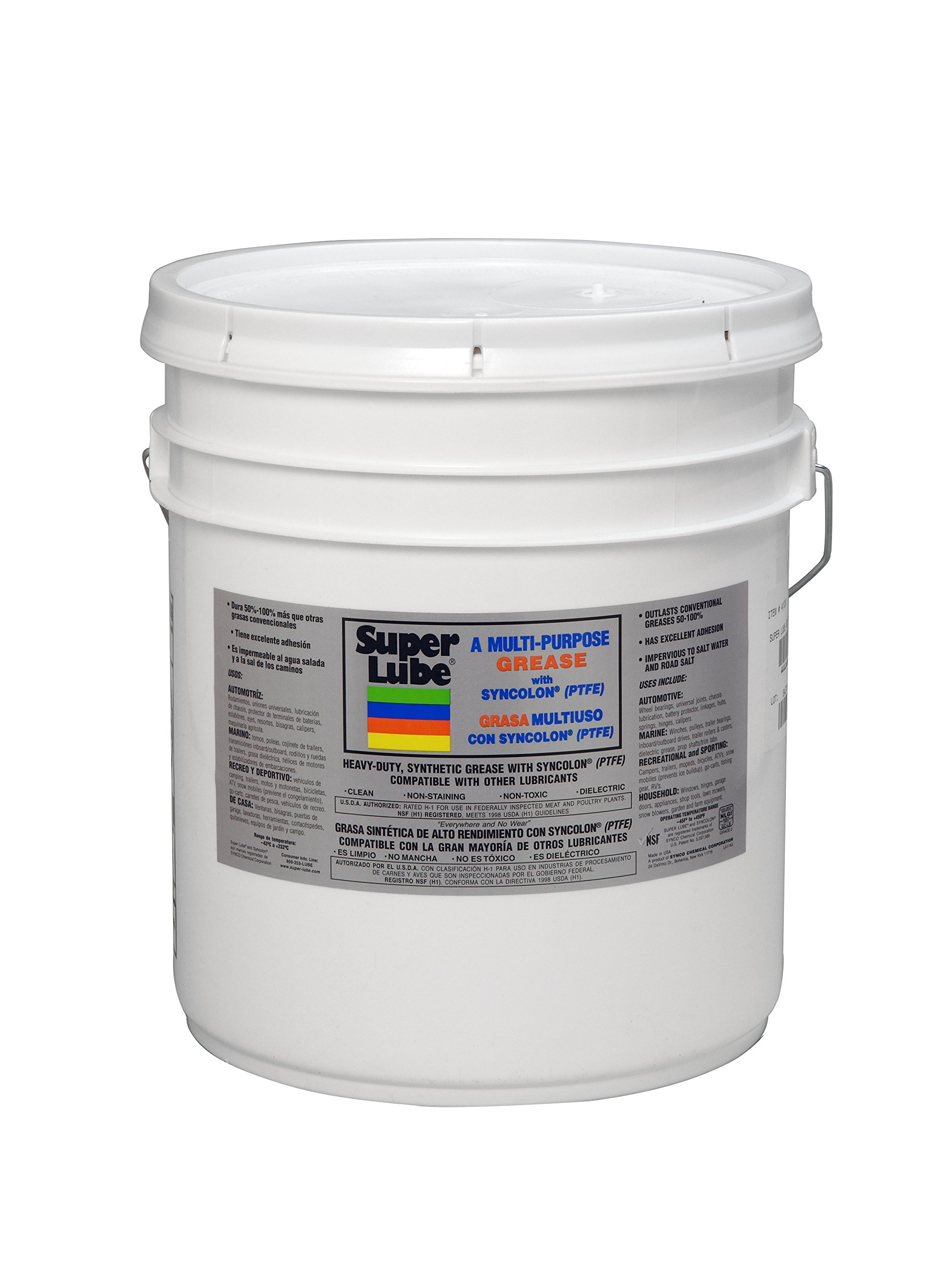 Super Lube 41030 Synthetic Grease (NLGI 2), 30 lb Pail, Translucent White