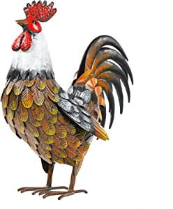 Kircust Vintage Metal Garden Rooster Yard Art Statue Decor, Outdoor Chicken Animal Sculpture for Patio, Lawn, Backyard and Home Decoration, 14-Inch Tall