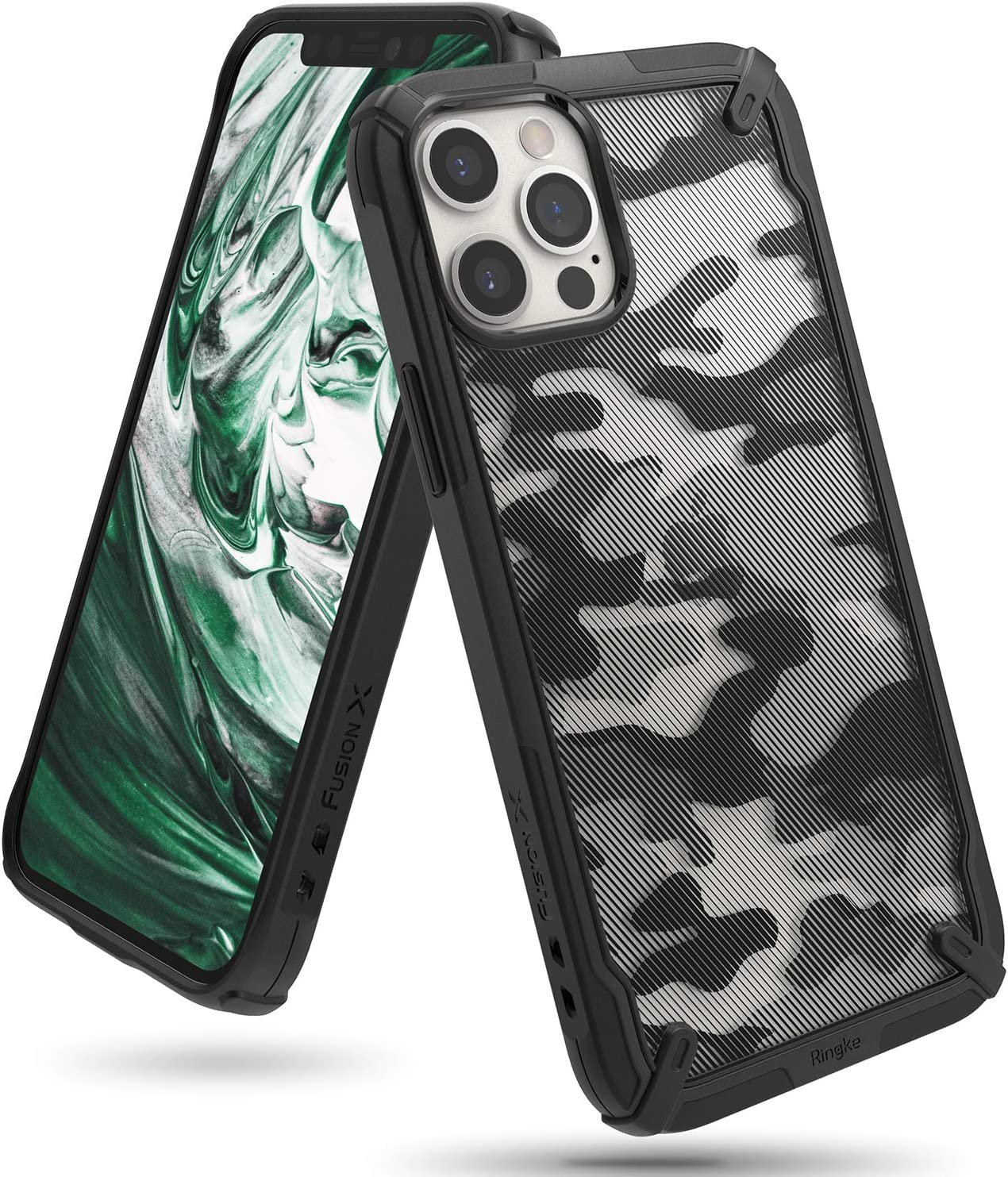 Ringke Fusion-X Compatible with iPhone 12 Pro Max Case Cover, Camouflage Design Hard Back Shockproof Heavy Duty Advanced TPU Bumper Phone Case for 6.7-inch (2020) - Camo Black